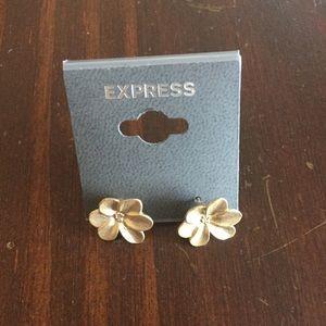 Express Gold Flower Post Back Earrings New